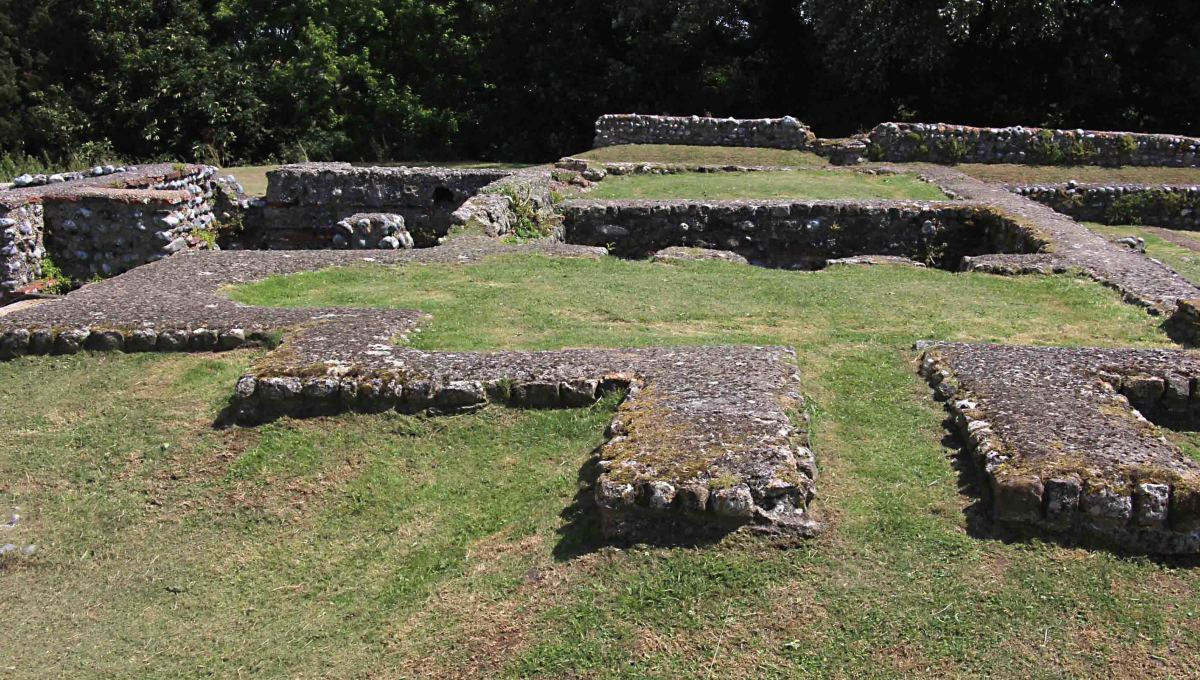 The ruins of the mansio (inn) on the left, and the bath house on the right, dating to the period between 85 AD and 250 AD
