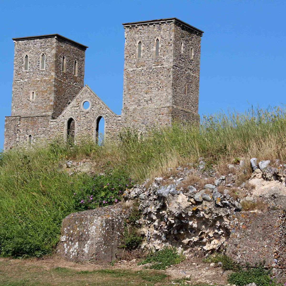 History through the ages - The ruined church towers are 900 years old. But the crumbling Roman wall in the foreground had aleady existed for 900 years before the towers were ever built