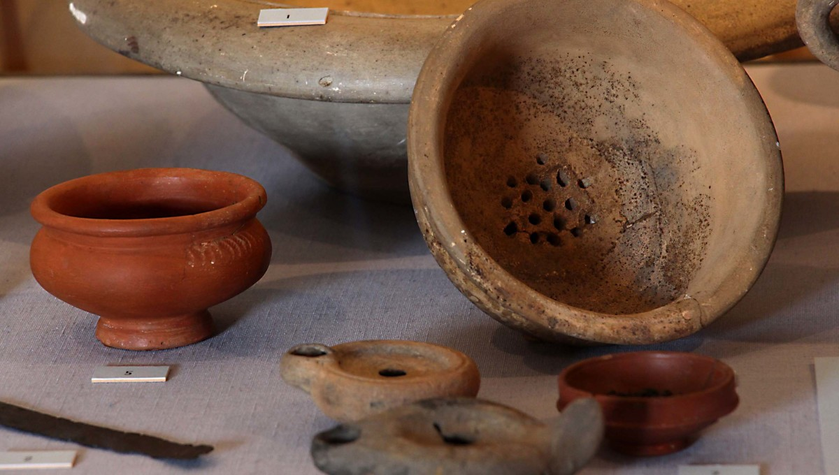 Roman pottery in the Richborough museum