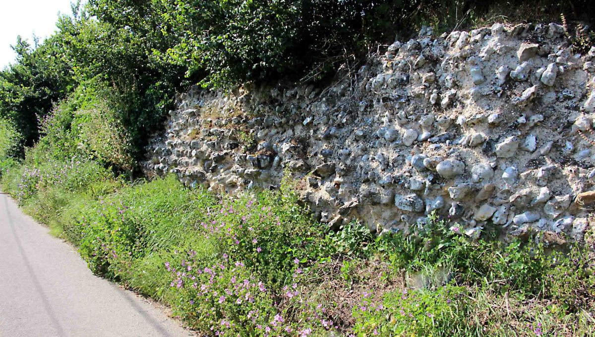 Reculver - Part of the surviving Roman wall