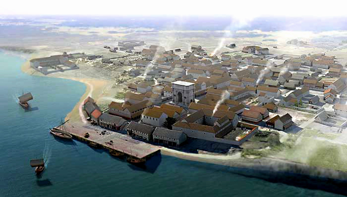 Artist's impression of how Rutupiae / Richborough may have looked during its heyday in the 2nd century AD