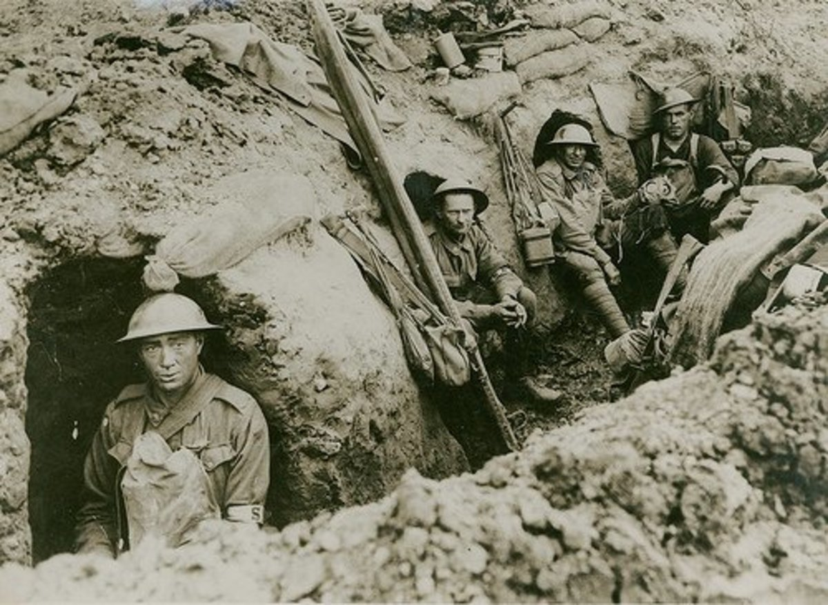 World War I trench misery and mud; they can't even manage a brave smile for the camera.