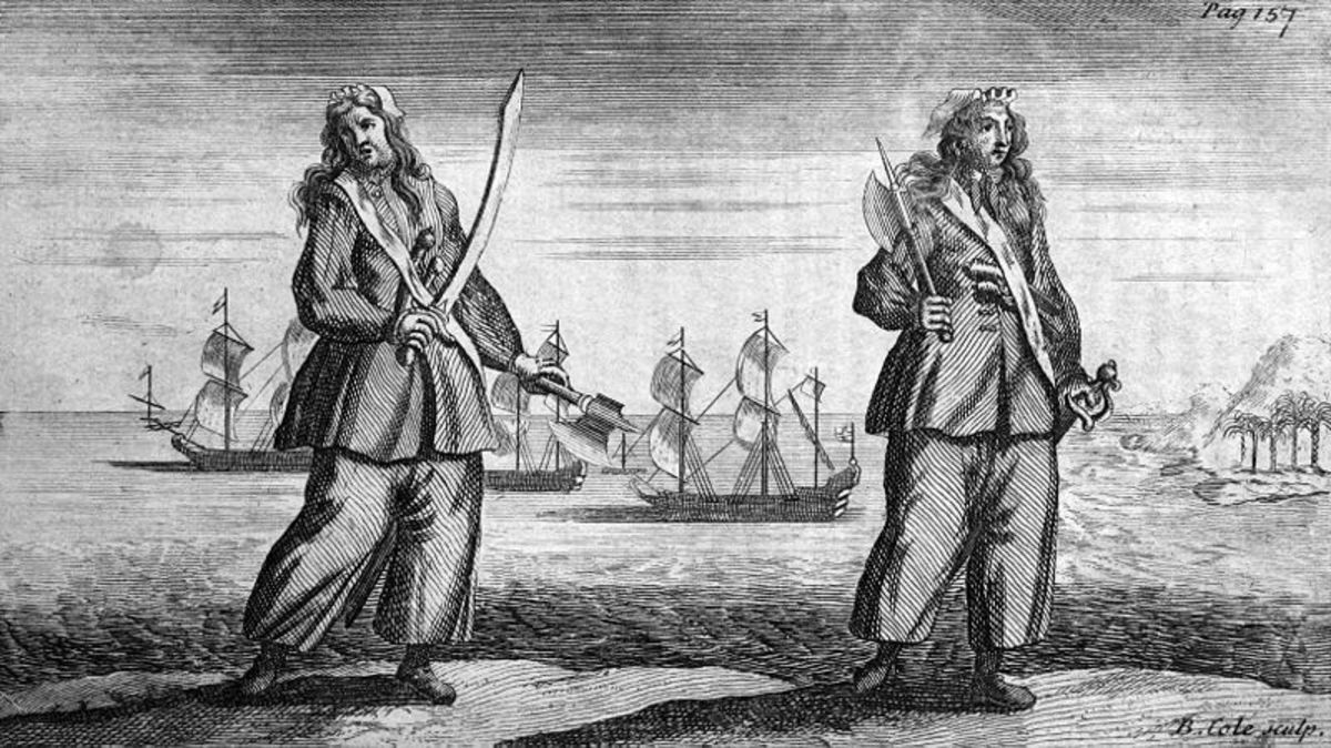 Ann Bonny and Mary Read were female pirates who dressed as men.
