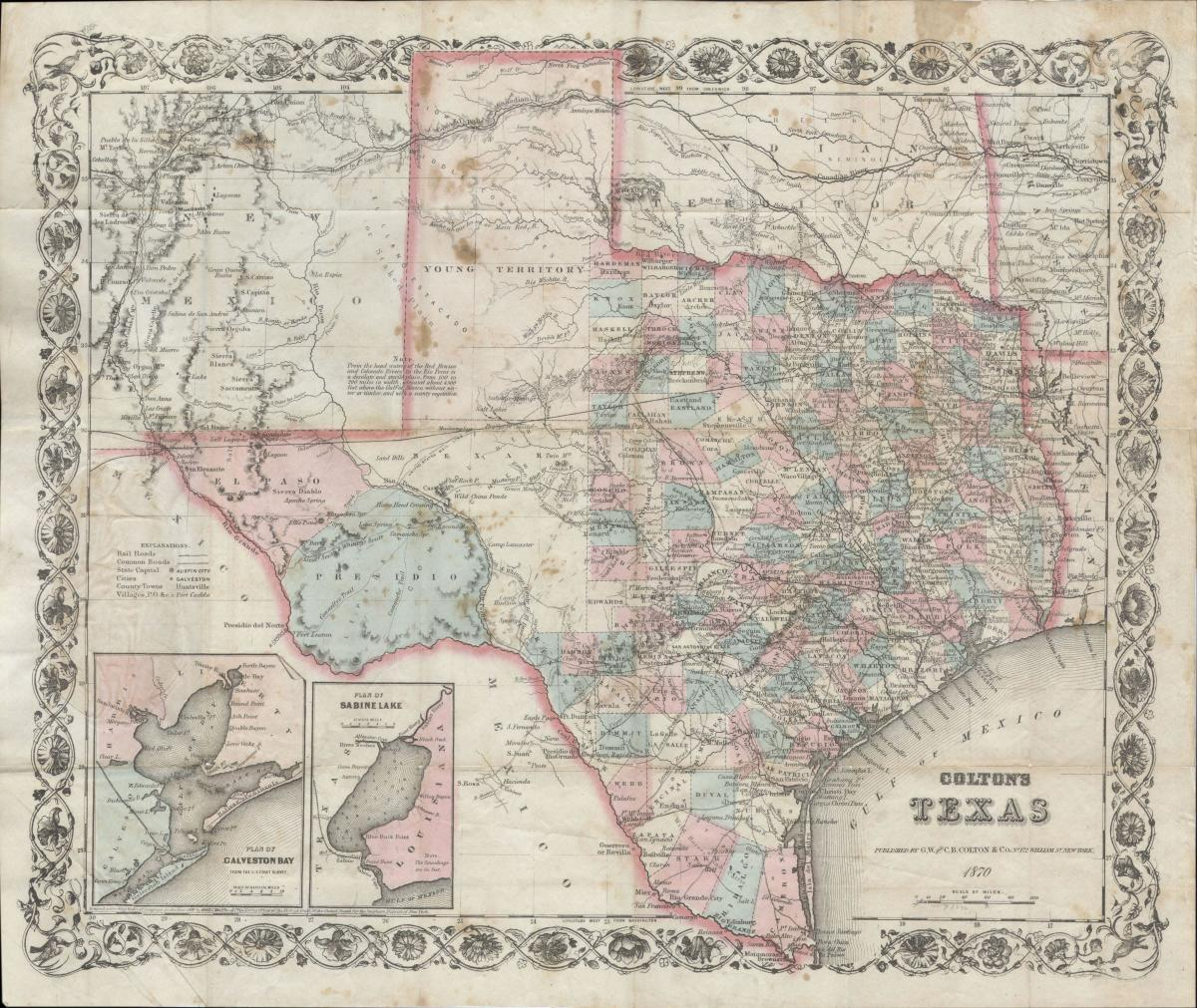 1870 Colton Pocket Map of Texas - Geographicus