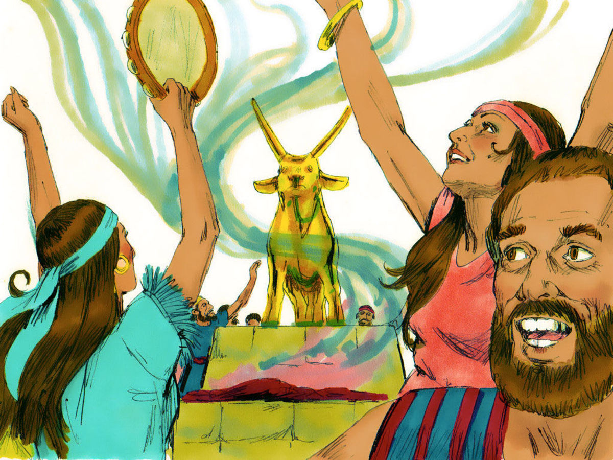 "Jews worshiping the ""golden calf"" following their escape from Egypt. Despite all the signs and miracles by God, many continued to worship idols."