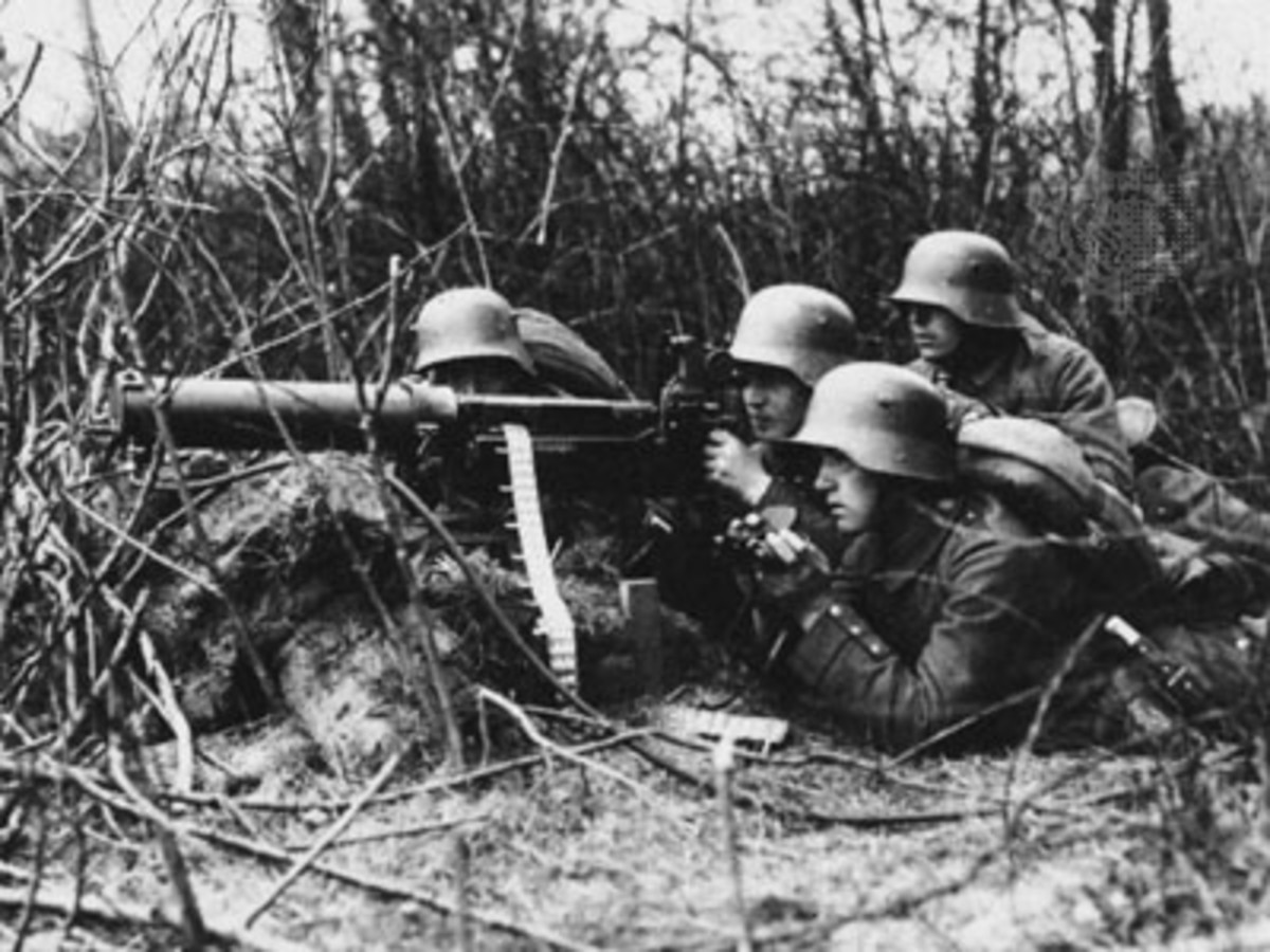 Germans Operating Machine Gun During World War I