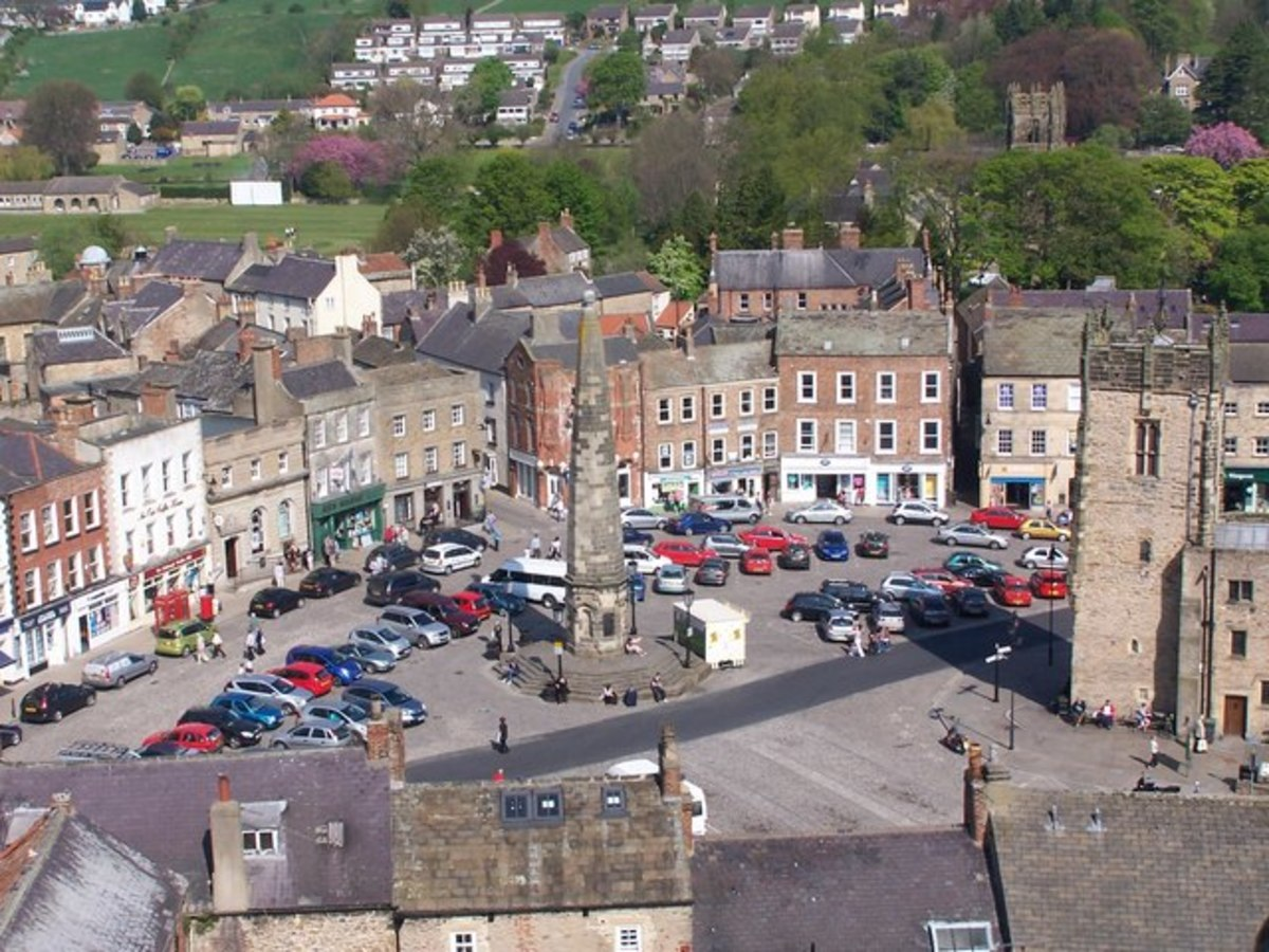 View from the castle keep over the Market Square of Richmond, the town that grew around the castle. The oldest part of town is closest to the castle