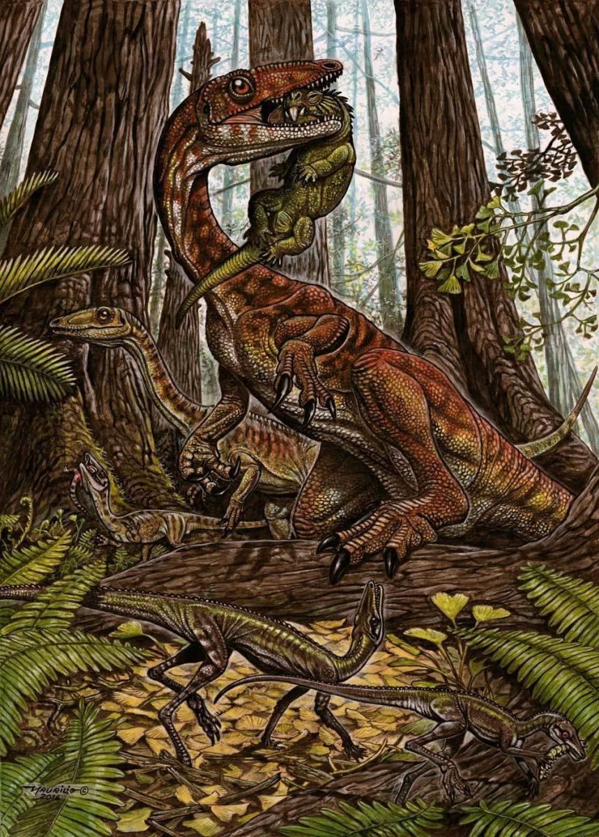 Buriolestes pack hunting rhynchosaurs.