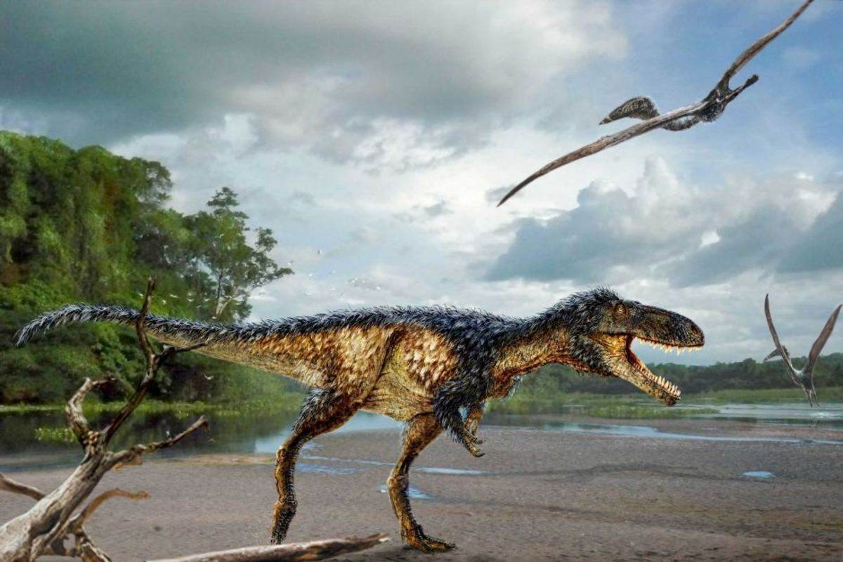 Timurlengia menacing pterosaurs, as depicted by Todd Marshall.