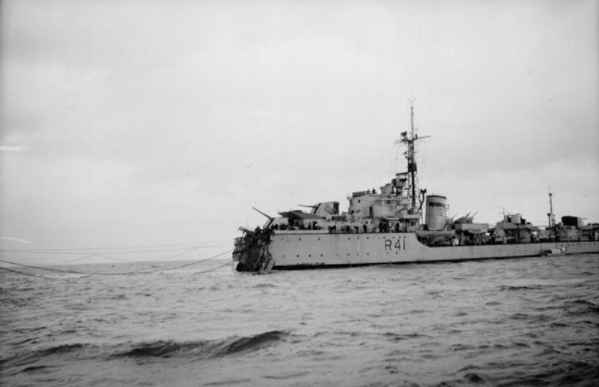 HMS Volage - Although severely damaged, she is towing HMS Saumarez