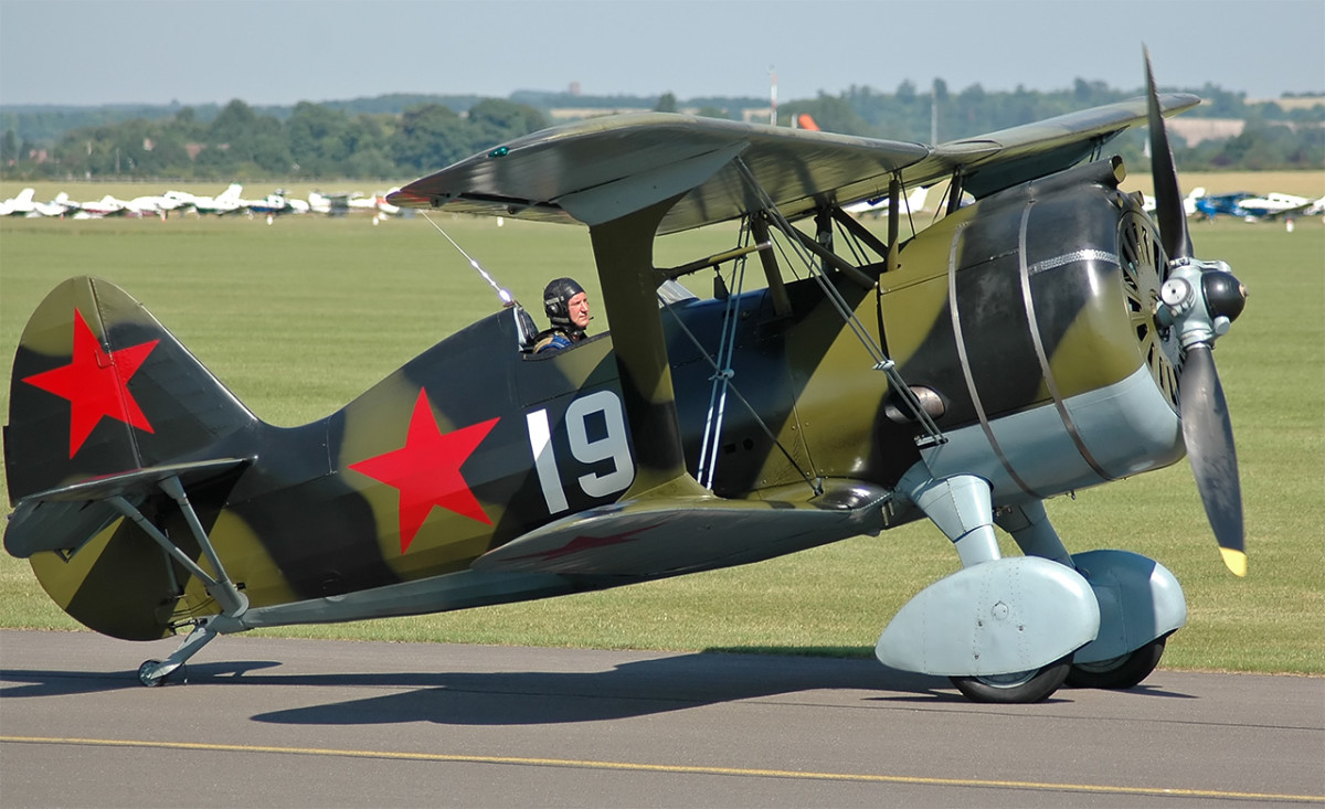 The Polikarpov I-15 fighter used at the beginning of the Second World War out-classed by the Me109 many were destroyed on the ground during the initial invasion.