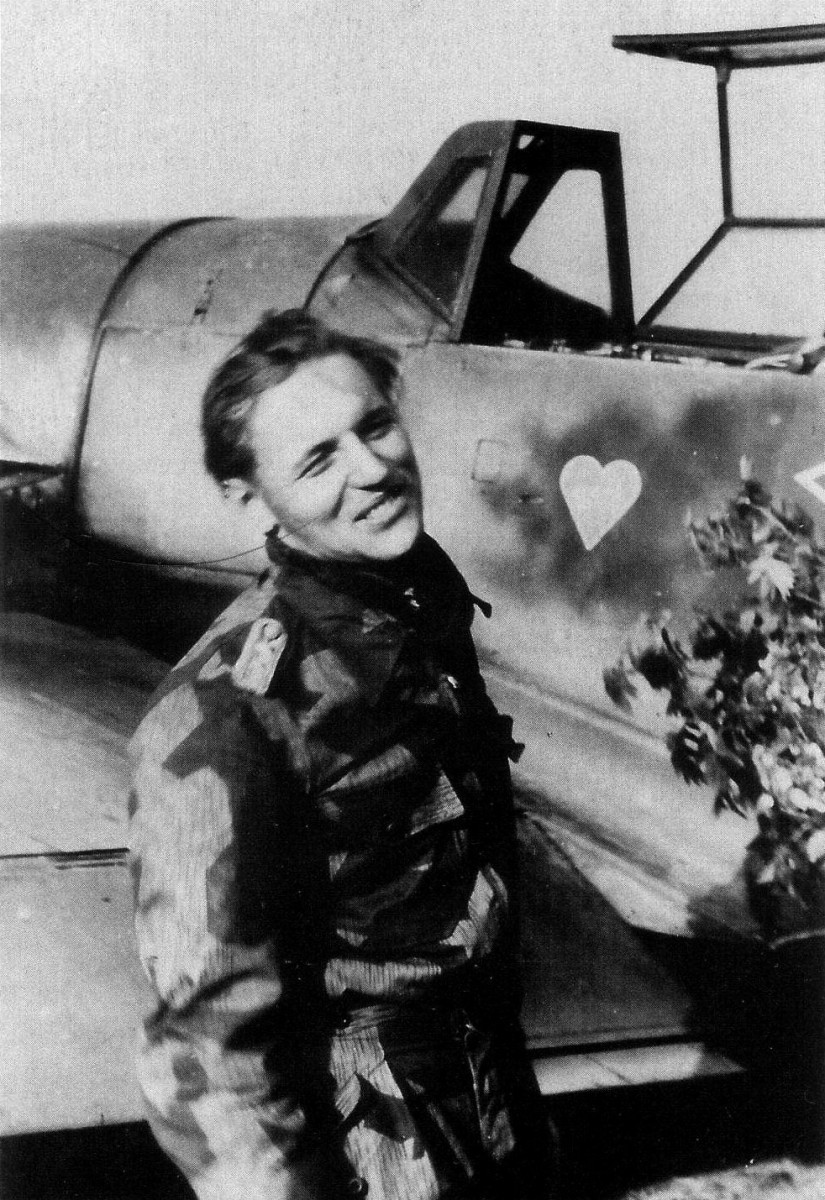 Erich Hartmann after he scored his 350th kill with an Me-109 his weapon of choice.