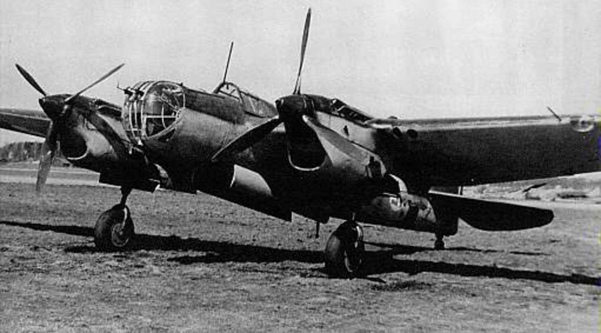 Tupolve SB a high speed twin engine three seat bomber by June 1941 over 90 percent of the bombers in the Soviet Air Force were Tupolev SBs, over 6,656 were built. Set an official altitude record of 12,246 on September 2 1937, it max speed was 263mph.