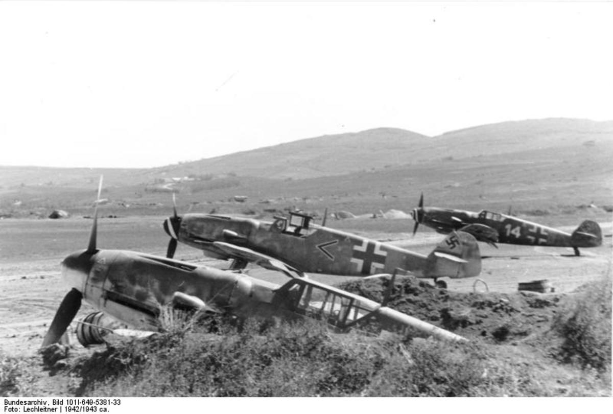 Row of Messerschmitt Bf109s on the air field. At the time of the German invasion of the Soviet Union the Luftwaffe was the best equipped air force in the world.