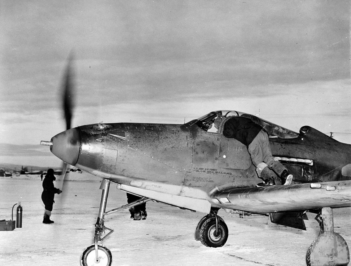 Part of lend lease from America Pokryshkin flew the Bell P-39 Airacobra early in the war, the 37mm cannon in its nose made it a favorite of Soviet pilots.