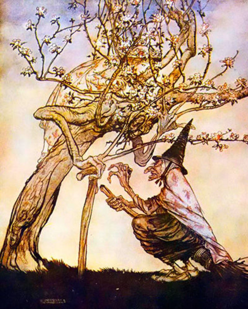 A witch interacts with a tree, by Arthur Rackham