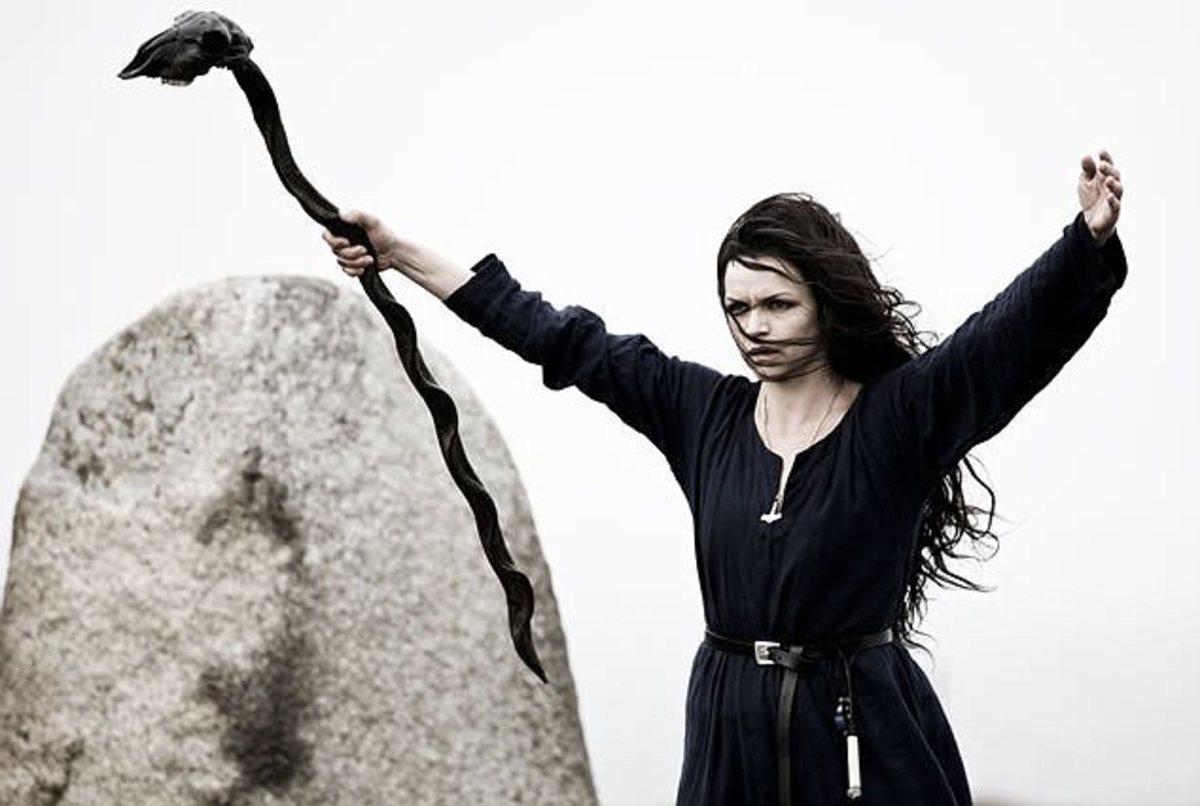 A Norse Volva with her staff.