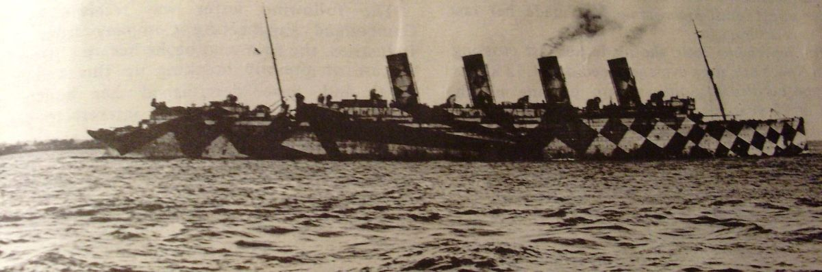 Mauretania in one of her wartime paint schemes.
