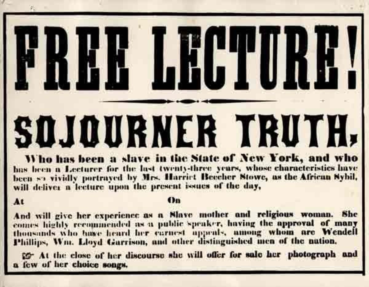 Sojourner Truth's lecture poster.