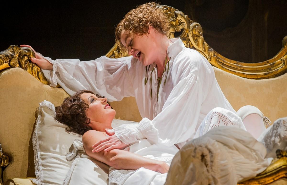 Opera North's production of Strauss's Der Rosenkavalier (2016). Ylva Kihlberg as The Marschallin (left) and Helen Sherman as Octavian. Photo Credit: Robert Workman and Opera North