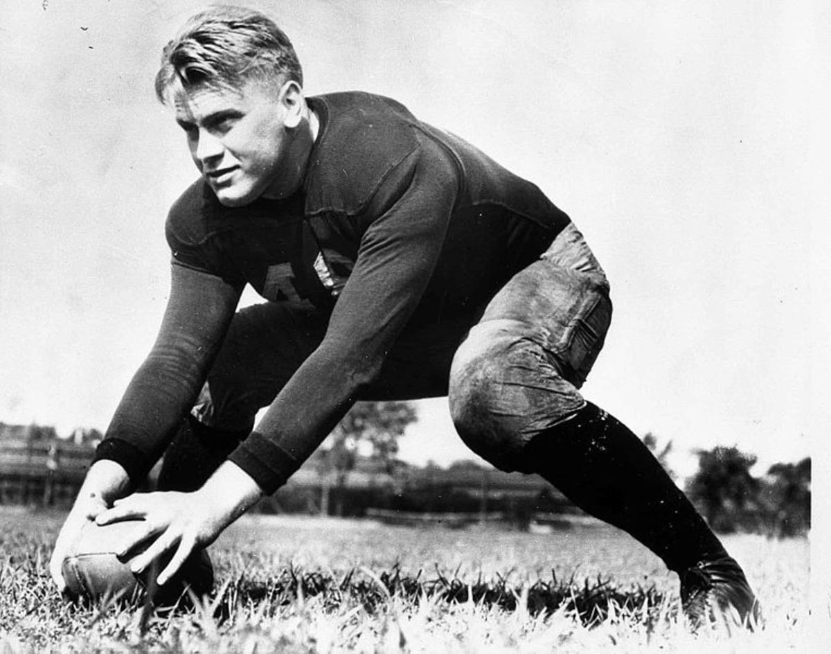 Gerald Ford on the football field at the University of Michigan (1933).