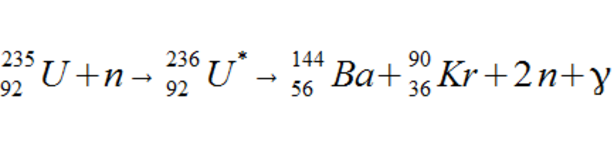 A possible formula for neutron induced fission of a U-235 atom.