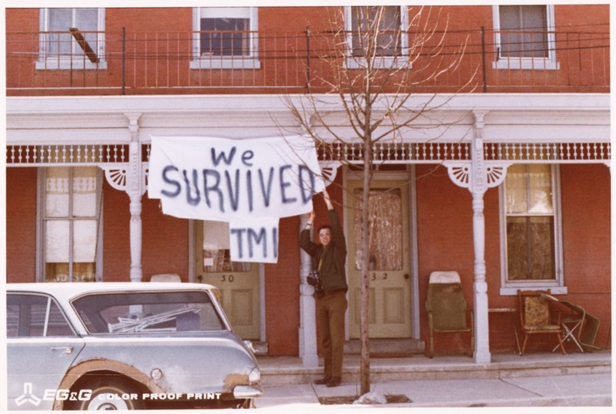 """We Survived TMI"" sign in Middletown, Pennsylvania."