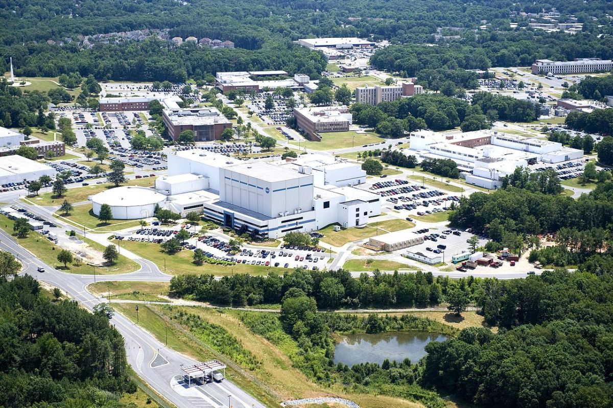 Aerial view of NASA Goddard Space Flight Center in Greenbelt, Maryland. Founded in 1959 and named after Robert Goddard.