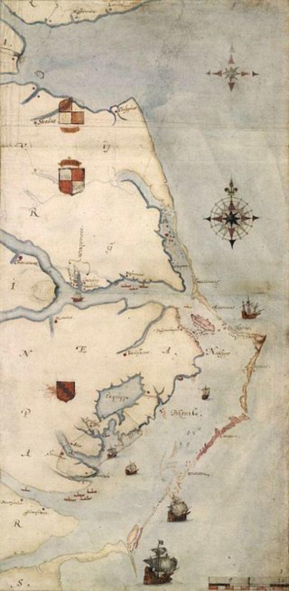Detailed map by John White depicting the Carolina coast