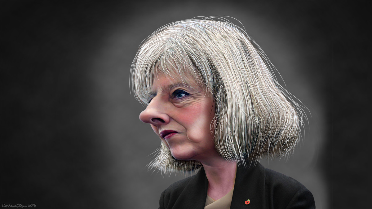 Theresa May caricature.