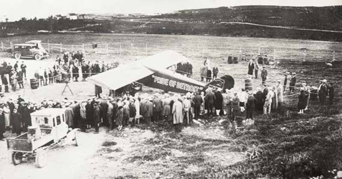 The Pride of Detroit at the Harbour Grace Airfield, 1927.