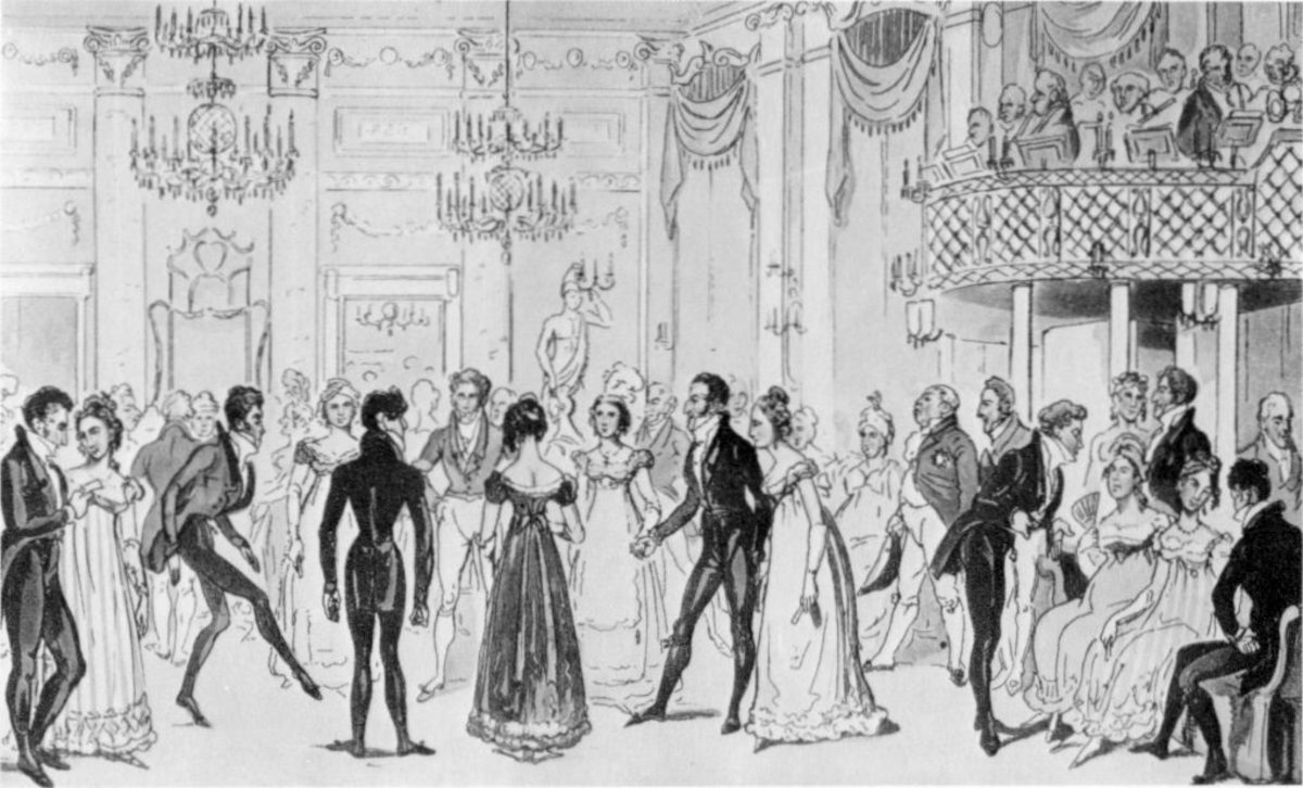 Almacks Assembly Rooms During the London Season by George Cruickshank (Public Domain)