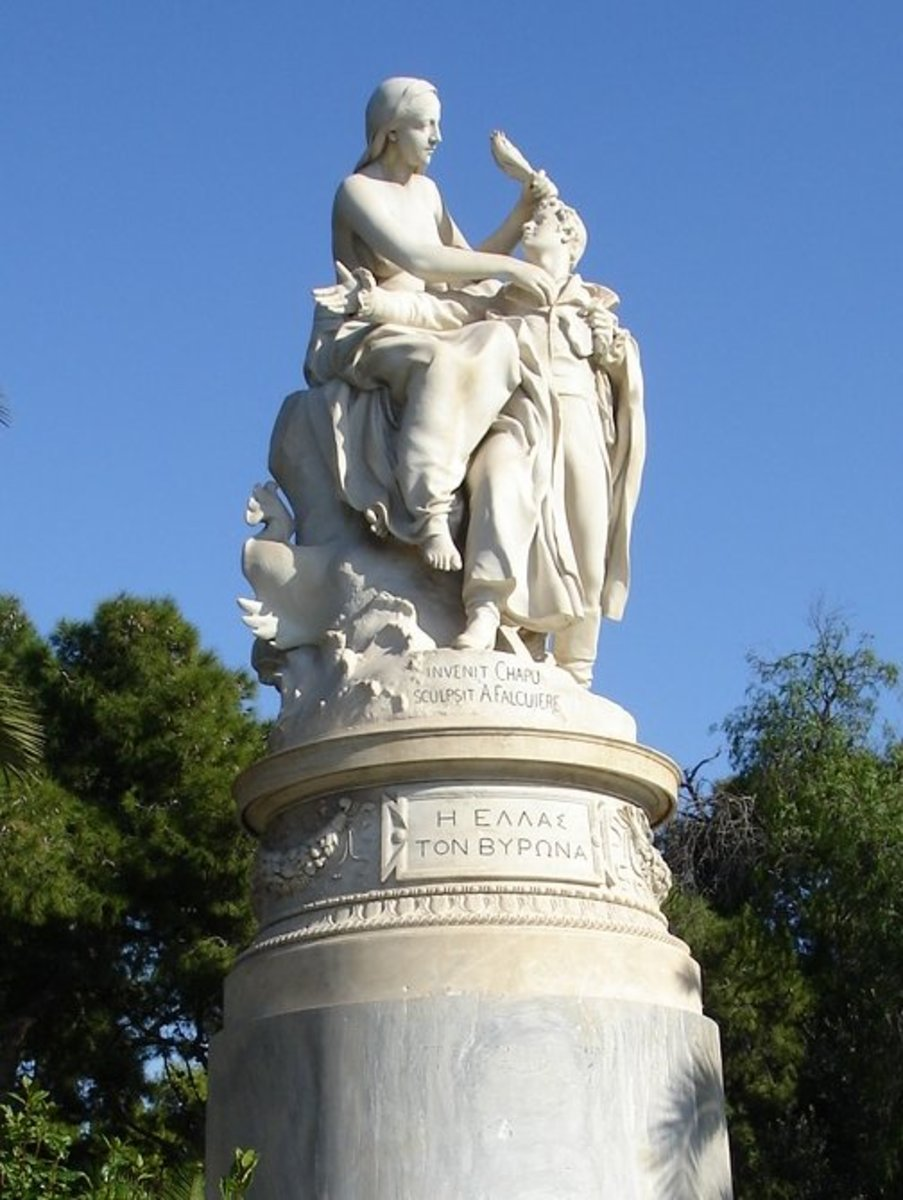 A statue in the National Garden, Athens depicting Greece in the form of a woman crowning Lord Byron