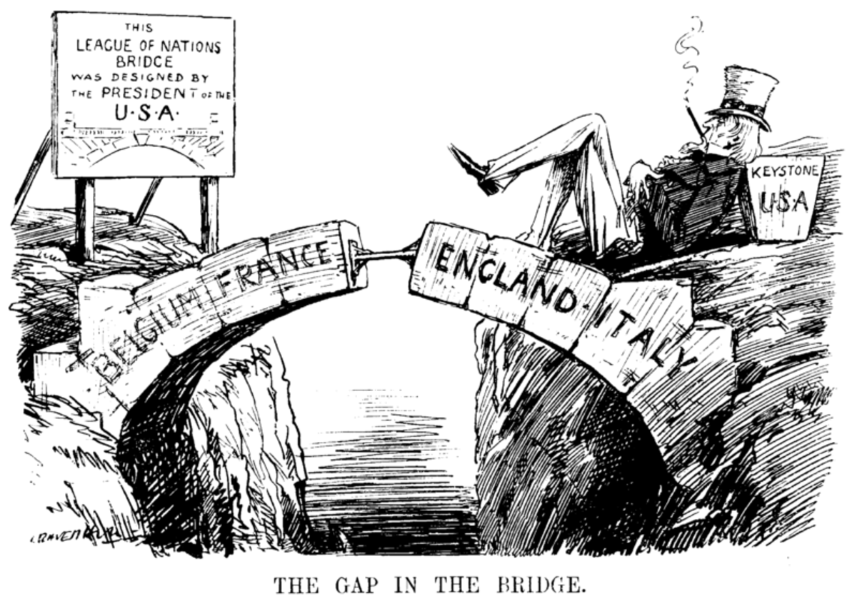 A cartoon from 1919 highlighting the absence of the USA from the league of nations.