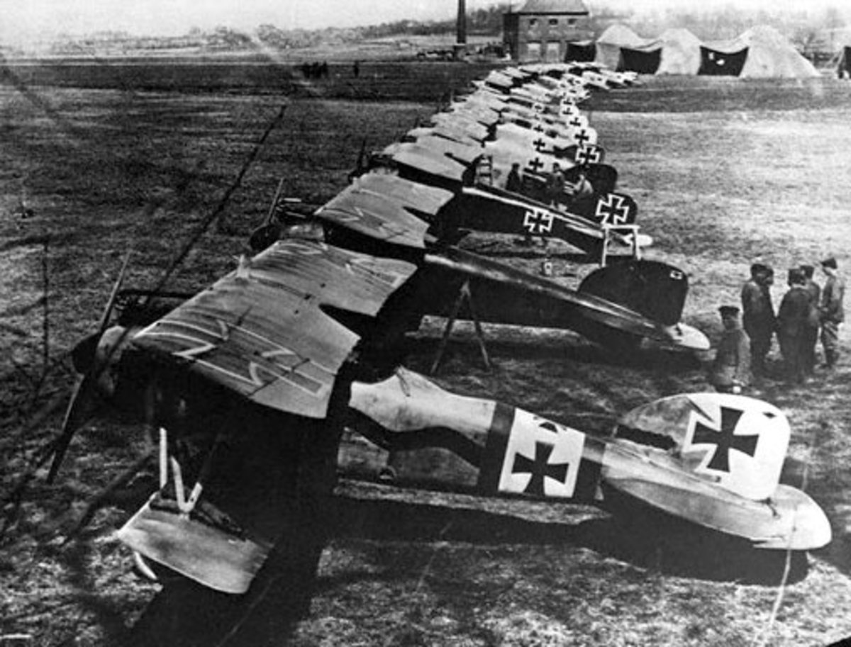 German Albatros D.III fighter aircraft parked in a line on the western front.