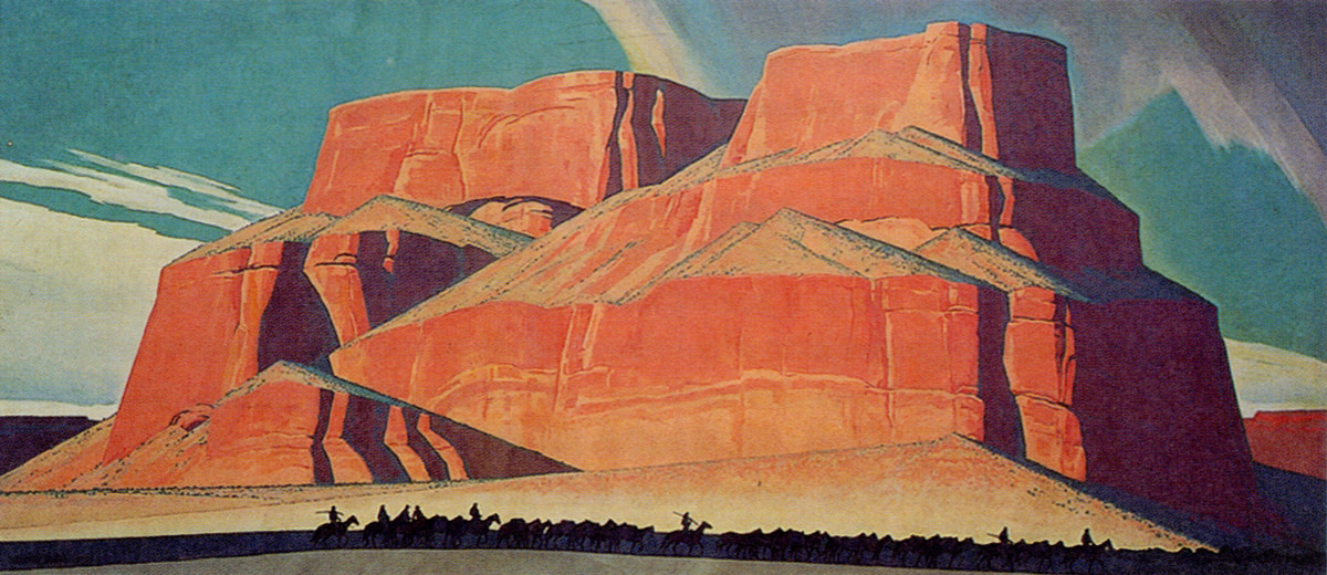 The stunning desert landscapes of Maynard Dixon are now found mostly in museum collections, This mural, titled Red Butte and the Mountain Men, runs 8 X 18 feet and can be found at the Booth Western Art Museum in Cartersville, Georgia.