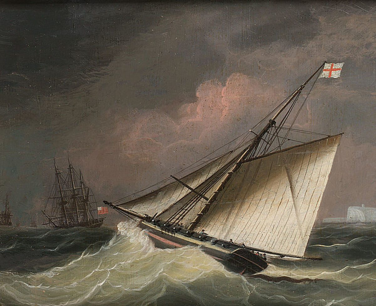 A Cutter in a Swell is attributed to Thomas Buttersworth, one of Perenyi's targets.