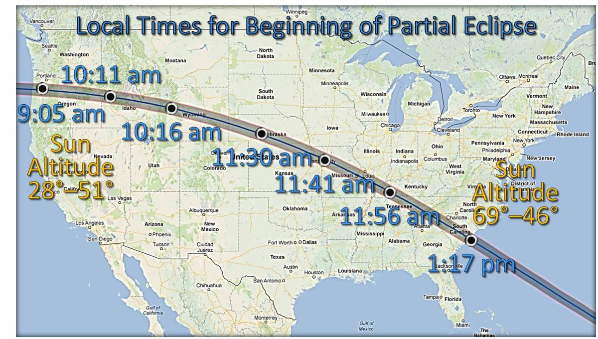 The path of the eclipse is displayed along with the times of impact