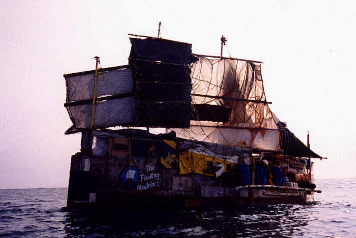 Son of Town Hall. Raft Poppa Neutrino and crew sailed across the Atlantic Ocean.