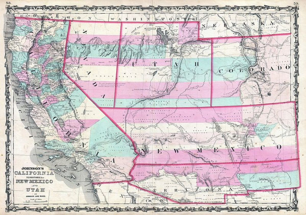 The West during the Civil War. Note the strategic significance of the Arizona Territory.