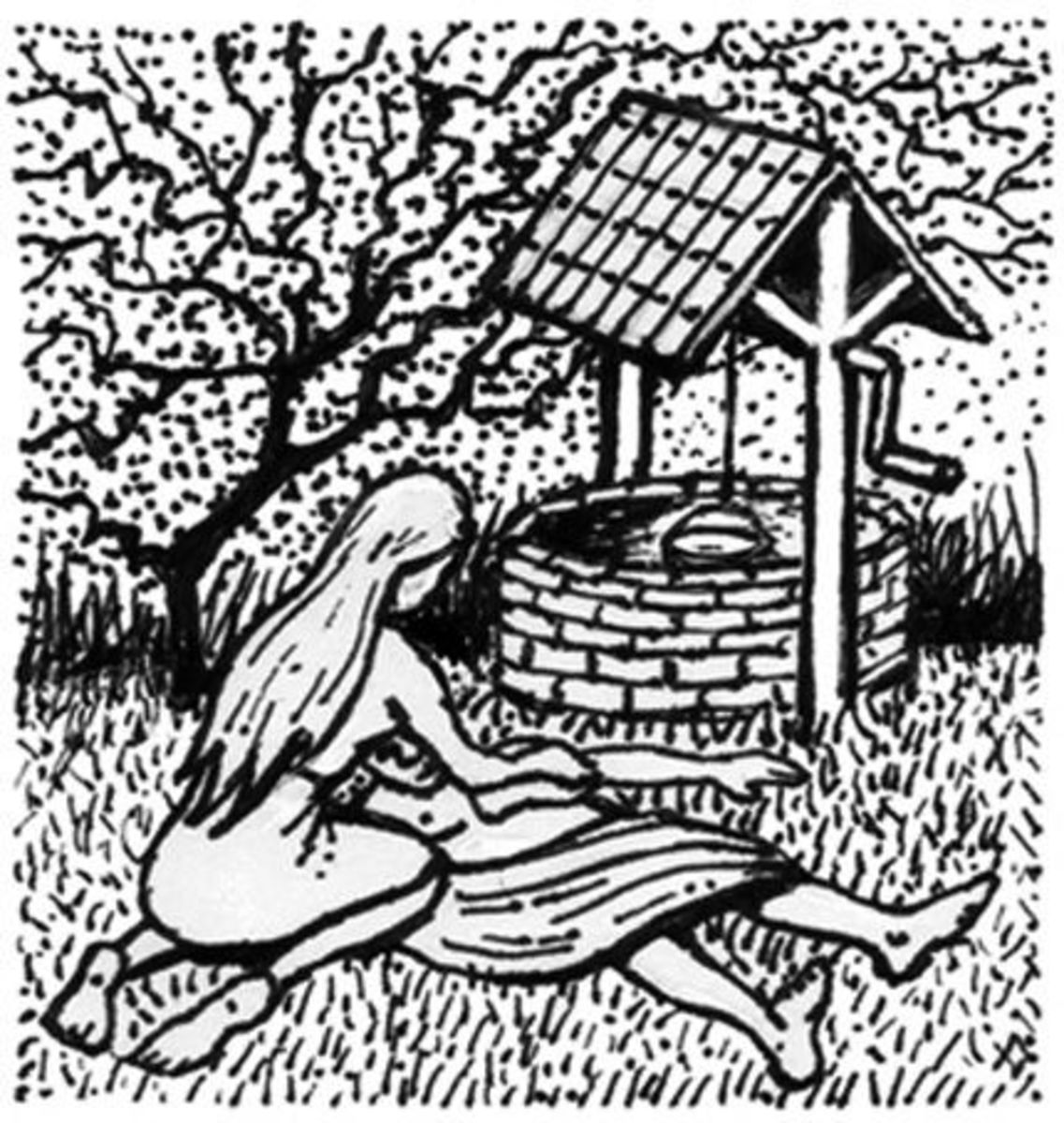 Janet at the Well (wood cut -- public domain)