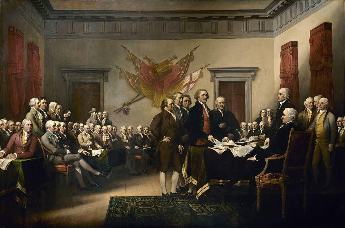 """Signing The Declaration Of Independence"" Painting by John Trumbull. Depicted is the five committee members presenting their draft of the Declaration of Independence to the Congress."
