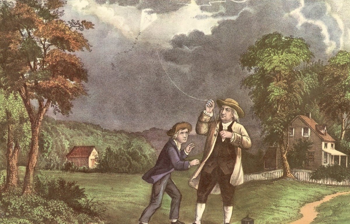 Benjamin Franklin and his kite experiment with electricity.