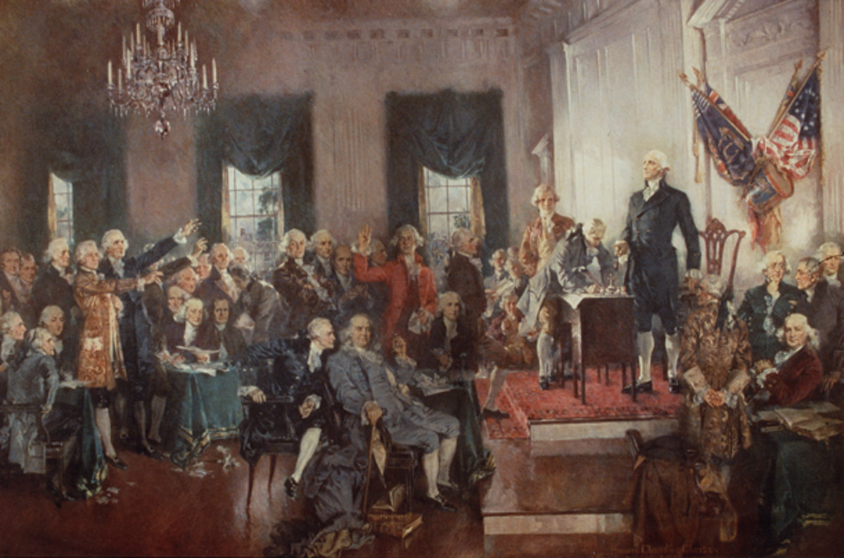 Constitutional Convention including George Washington, James Madison, Benjamin Franklin, and Alexander Hamilton.