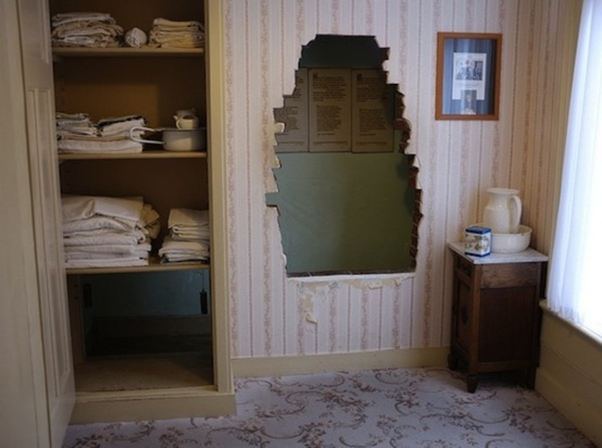 The Hiding Place Behind the Wall in Corrie's Bedroom. The Entrance was Through a Hole in the Bottom of the Closet. The Wall Was Made of Brick to Give the Illusion of an Exterior Wall.