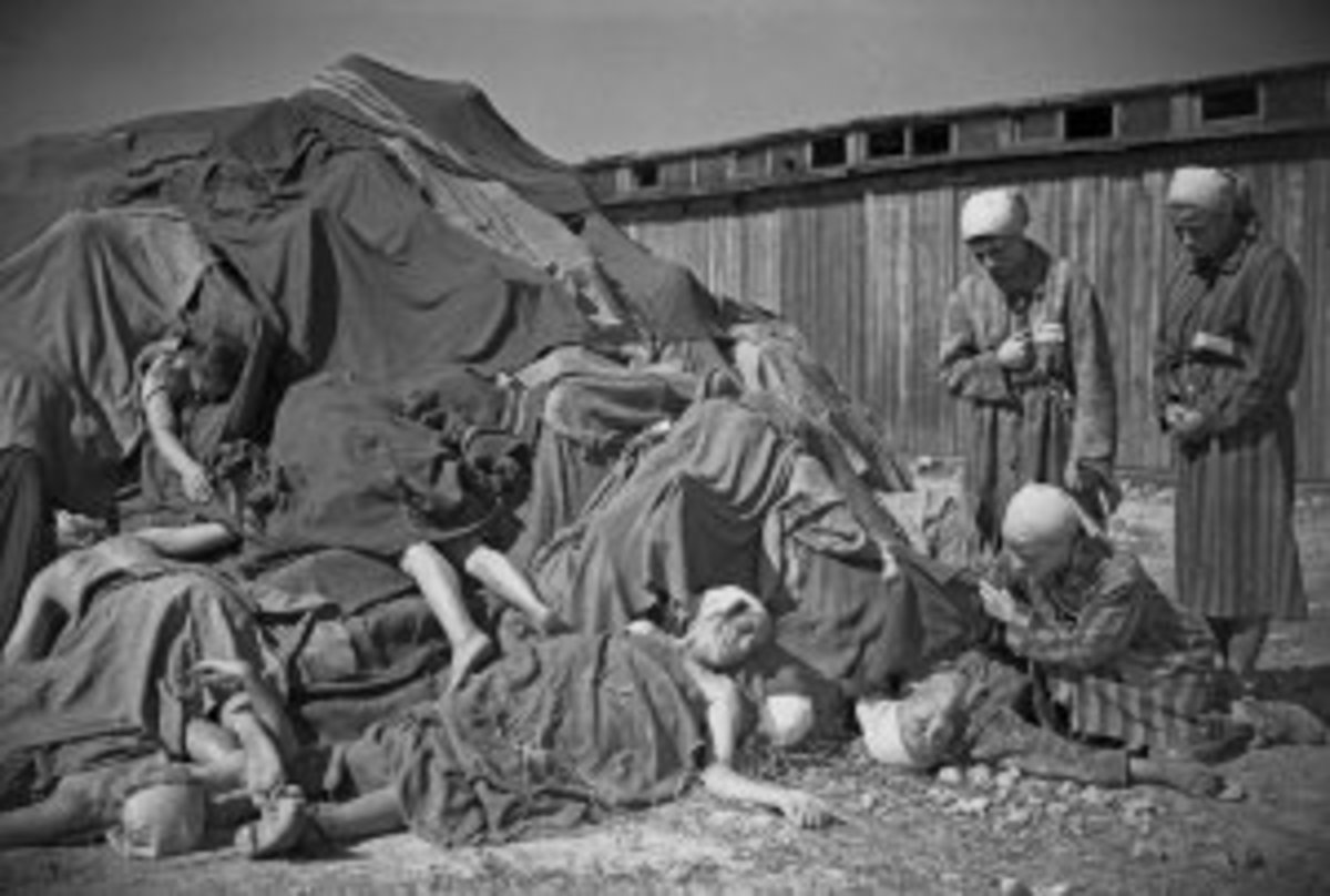 Corpses Stacked up and Covered With Blankets, Ravensbruck Concentration Camp