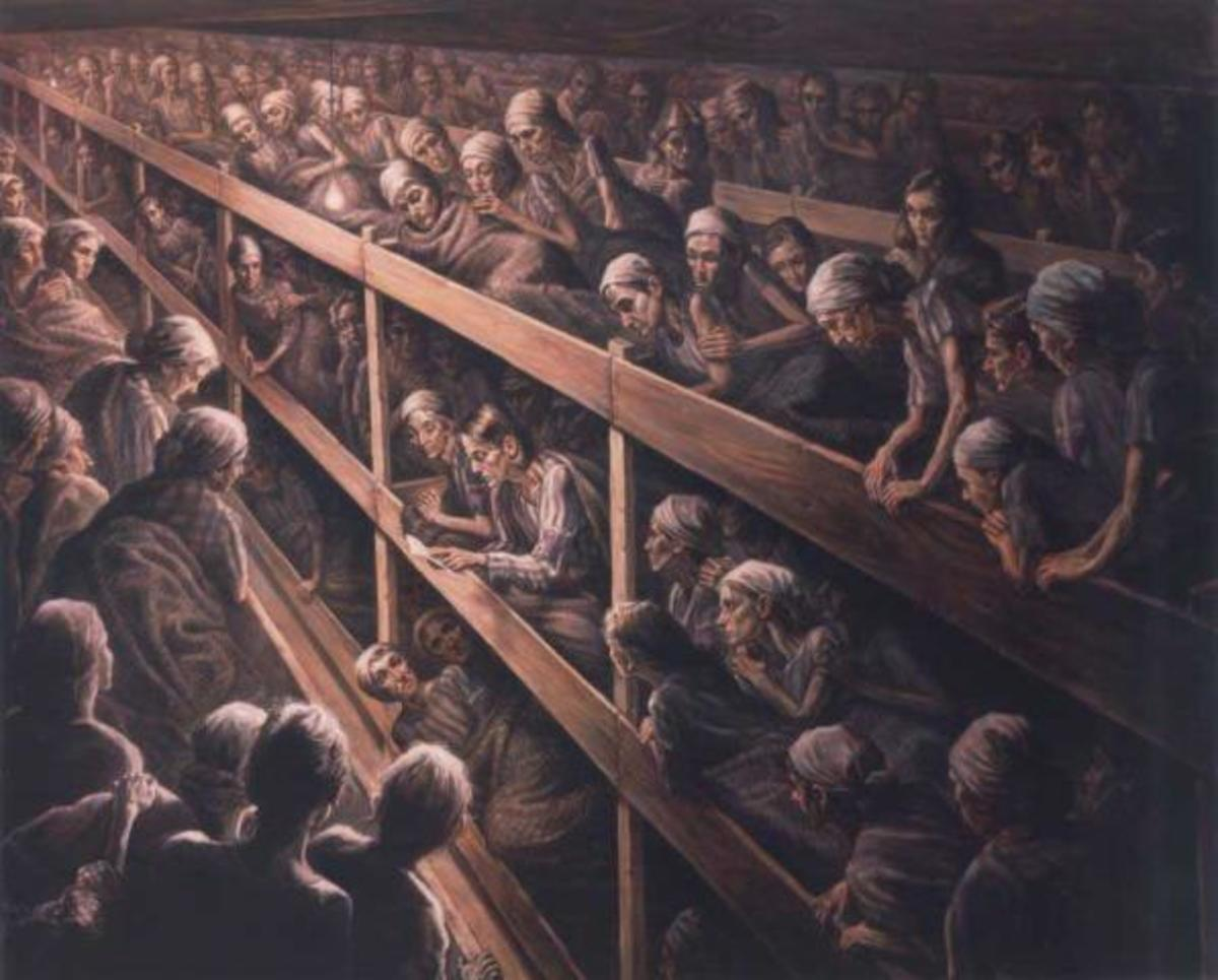 Artist's Rendition of Betsie and Corrie Reading the Bible to Their Fellow Prisoners