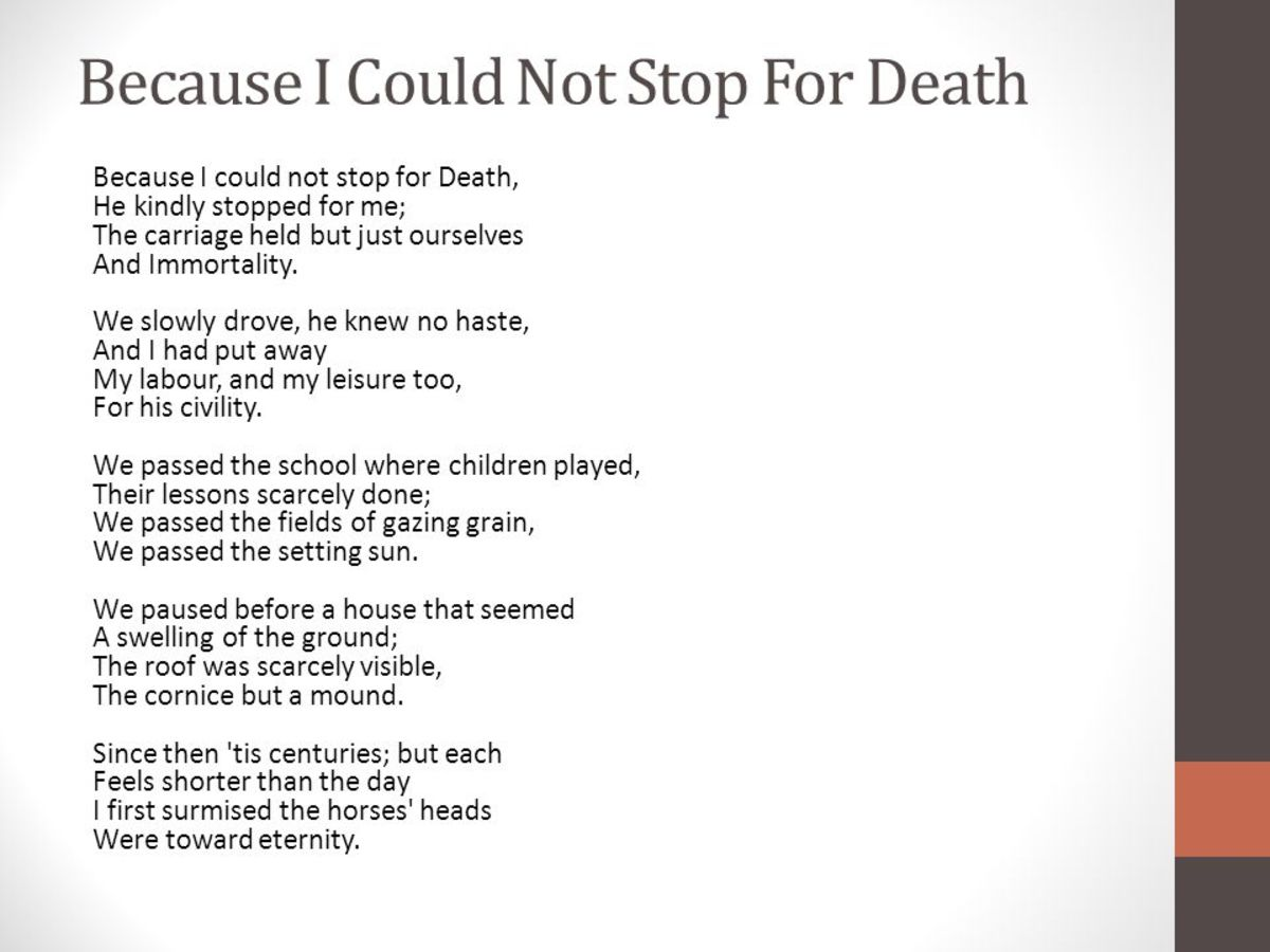 "an analysis of the portrayal of death in emily dickinsons poetry A view of death in emily dickinson's ""because i emily dickinson's poetry introduction death is one of the important themes of emily dickinson's poetry."