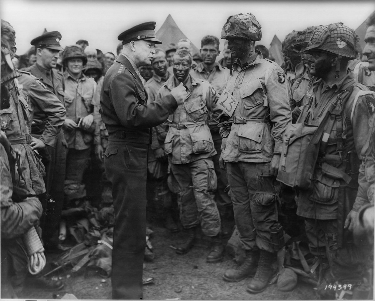 General Dwight D. Eisenhower addresses American paratroopers prior to D-Day in England.