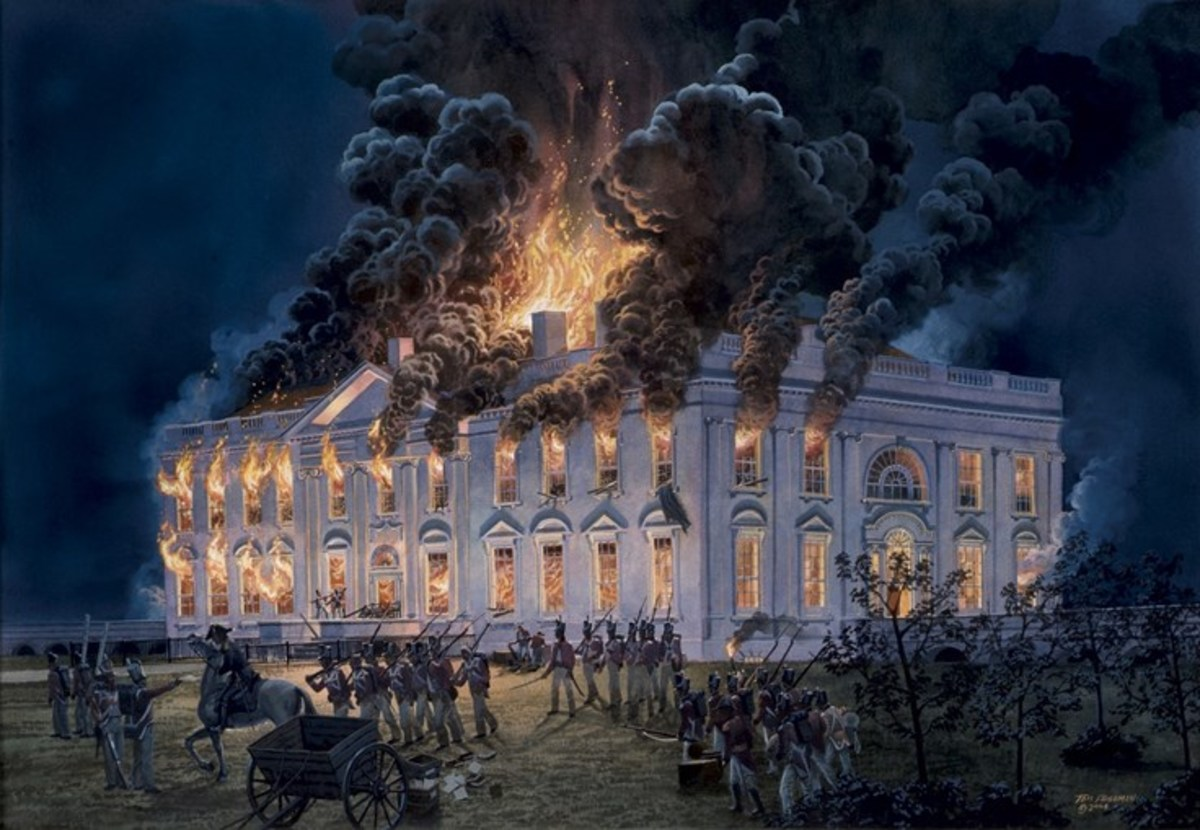 British burn the White House during the War of 1812.